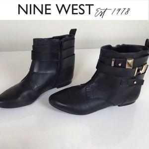 NWT Nine West Black Boho Buckle Ankle Booties 5M